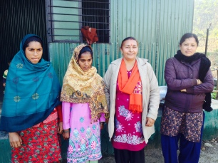 Saroj Sharma, second from the right, with the second teacher and the cooks in Choti Karombi kohl.