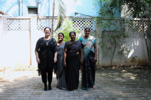 Sara in her black tunic with Sheelu Francis, Stella and Reekha in their black sarees