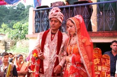 Brudparet Rajesh Khatri och Anju Bhandari
