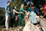Dadi Asha styr upp kossornas fest. Från vänster: Fanny, Karin, Caroline, Linnea, chacha Devi, dadi Asha, didi Kala. Bild tagen av Varun