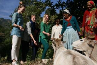 Dadi Asha styr upp kossornas fest. Från vänster: Fanny (Jag alltså), Karin, Caroline, Linnea, chacha Devi, dadi Asha, didi Kala. Bild tagen av Varun