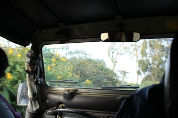 Bild från baksätet när vi åker jeep till en by